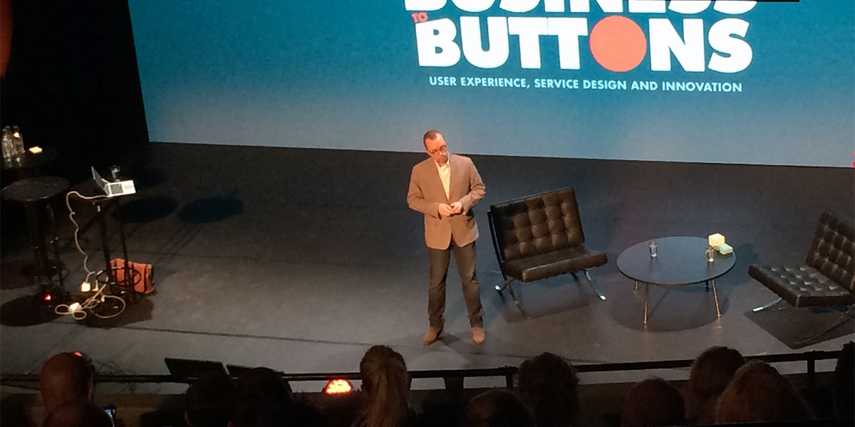 Ethan Marcotte at the From Business to Buttons 2015 conference in Stockholm (photo: Magnus Nilsson)