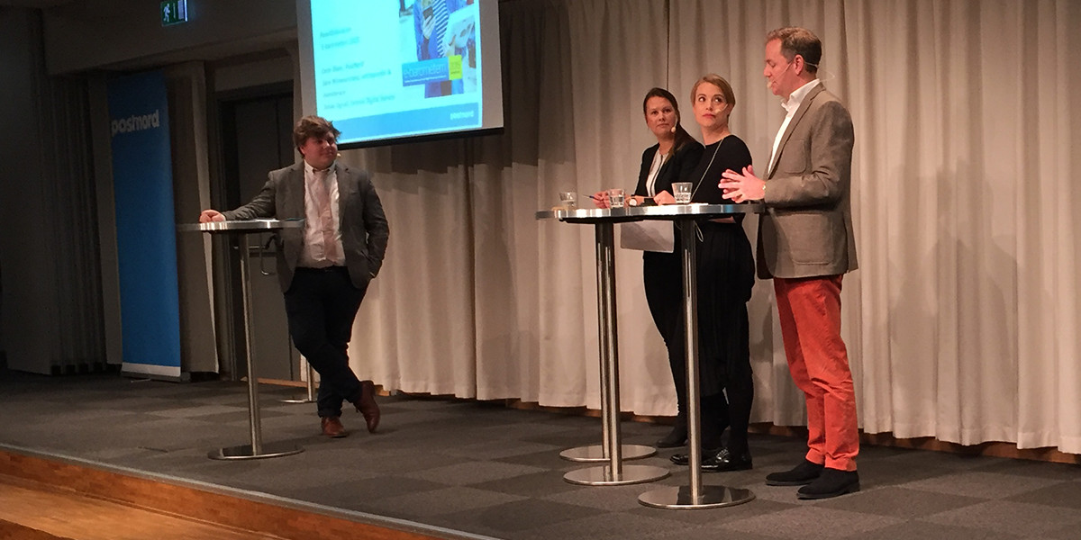 Anton Johansson, Carin Blom, Sara Wimmercranz and Jonas Ogvall on The E-barometer 2015 (photo: Magnus Nilsson)