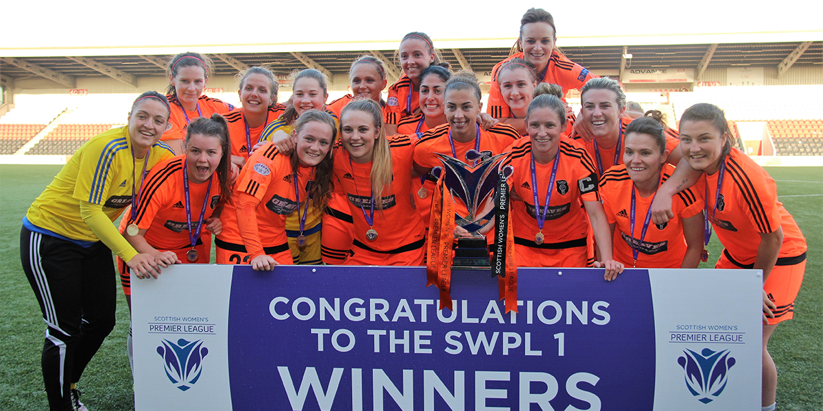 Glasgow City celebrates their league title in 2016. Portabla Media is sponsor for Hayley Lauder, second from left in the top row. (photo: Glasgow City)