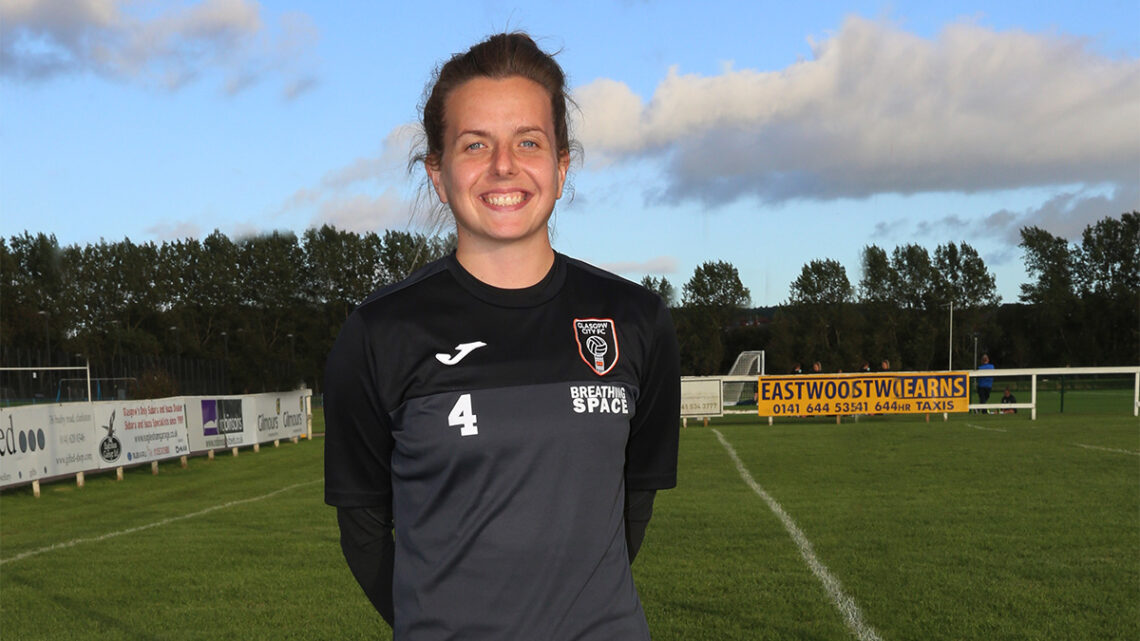 Hayley Lauder of Glasgow City is sponsored by Portabla Media